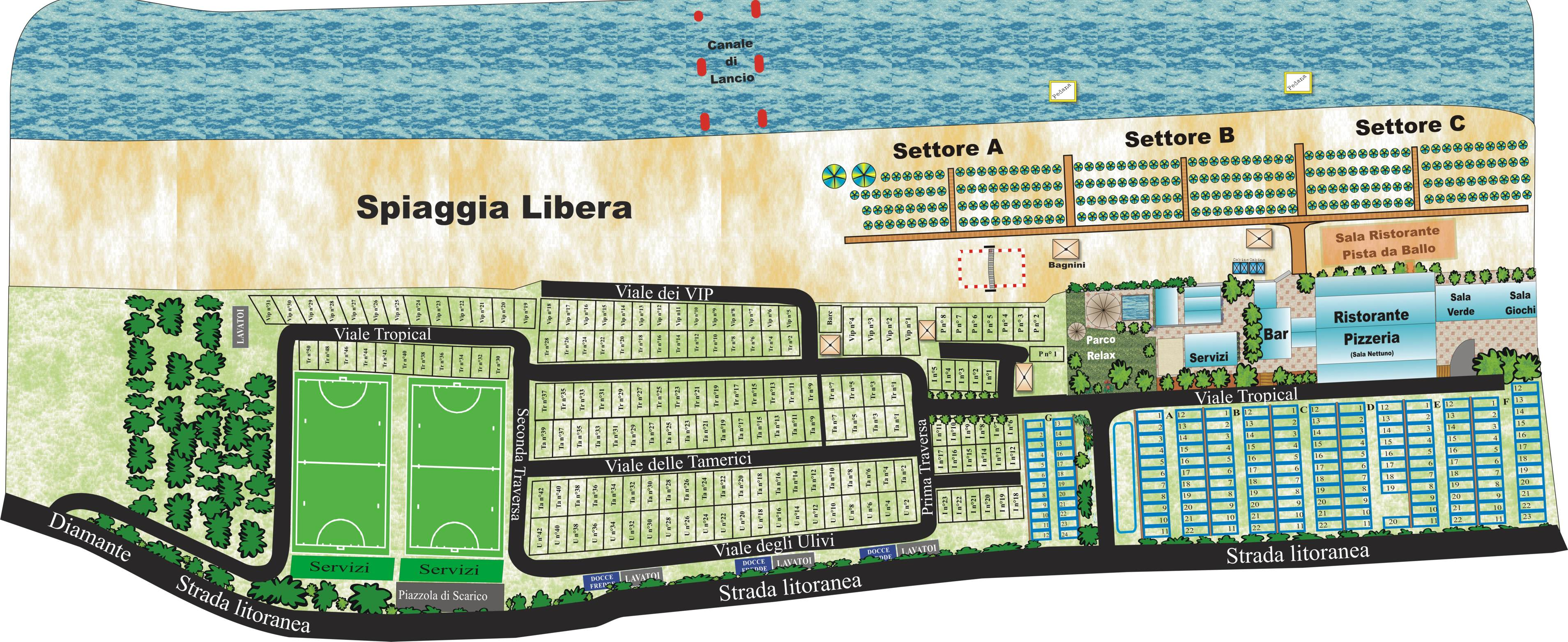 Lido tropical stabilimento balneare sosta camper for Progetti di cottage sulla spiaggia e planimetrie